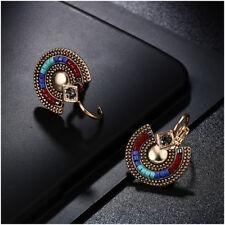 Boucles d'Oreilles Dormeuse Doré Ethnique Rond Gravure Mini Perle Bleu DD10