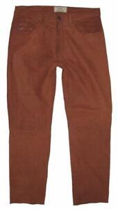 """ Arizona "" Men's Leather Jeans/Nubuk- Pants IN Rust Braun Approx. W34 "" / L32 """