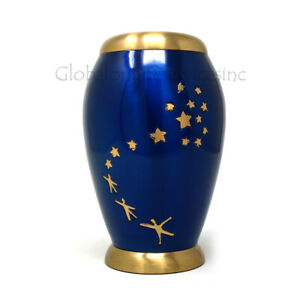 Cremation urn Medium Majestic Blue Star Flat Top Floral Adult Funeral Urns Ashes