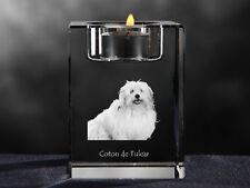 Coton de Tulear, crystal candlestick with dog, souvenir, Crystal Animals Ca
