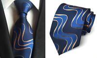 Blue Yellow Mens Tie Patterned Handmade 100% Silk Wedding Necktie UK Seller