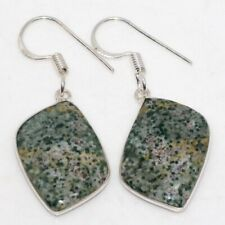 """Silver Plated Earrings 1.7"""" Gw H13987 Ocean Jasper 925 Sterling"""