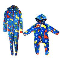 Dinosaur Crazy Boys Girls 1Onesie Onesey Fleece Hooded Jumpsuit Playsuit Novelty