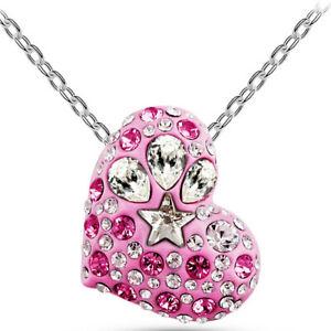 Pink Heart Women NecklaceSilver Chain Women Costume Jewellery Fashion