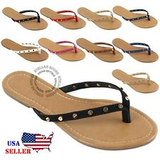Womens Summer Cute Gold Plated Cartier Stud Thong Sandal Slipper Flip Flops