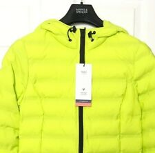 M&S Marks Ladies Lime Green Padded Quilted Puffa Jacket Stormwear & Hood BNWT