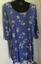 "AUTOGRAPH WEDGEWOOD BLUE ""FLORAL PRINT"" RUFFLE SLEEVE TUNIC TOP SZ 26-NEW IN!"