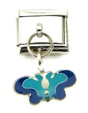 Butterfly Blue 9mm Italian Charm Stainless Dangle Link Bug Insect