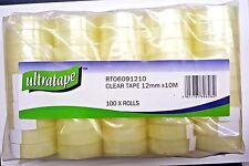 Ultratape 100 piccole 12 mm x 10 M Nastro Di Imballaggio Trasparente Sellotape ROTOLI facile strappo