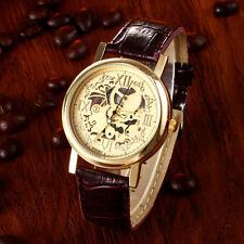 Luxus Hrren hohl Skelett Quarz Uhren Gelbgold Edelstahl Leder Armbanduhren Uhr