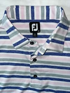 FJ FootJoy XL BLUE GRAY PINK STRIPES Mens Golf Short Sleeve Button Polo Shirt