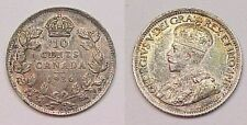 1936 Canada Canadian Ten Cents Dime BU Brilliant Uncirculated Toned Colors