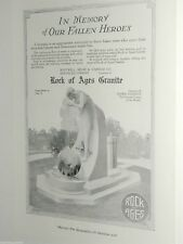 1920 Rock of Ages advertisement, WWI Soldiers Memorial, fountain monument