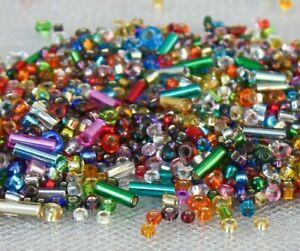 Silver Lined Mix Czech Glass Seed Beads 10grams Long Short Bugles Rocailles
