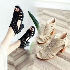 Women Ladies Block Mid High Heel Zipper Chunky Sandals Shoes Peep Toe Hollow Out