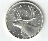 CANADA 1951 HR 25 CENTS QUARTER KING GEORGE VI CANADIAN .800 SILVER COIN