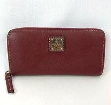 Dooney & Bourke Red Pebble Grain Leather Large Zip Around Clutch Wallet