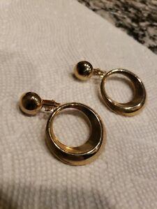 Vintage finish gold tone clip on drop dangle earrings