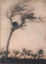 Goblin Imp Cat Windblown Tree Comus Arthur Rackham c1921 Tipped-In Art Print