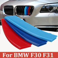 3PCS M Sport Kidney Grill Grille Cover Decal Clip Strip For BMW 3 Series F30