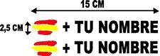 Bandera España más tu nombre pegatinas vinilos stickers rótulos adhesivos