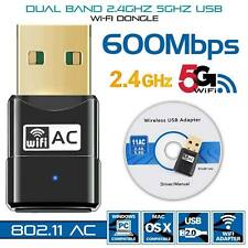 600 Mbps WiFi Dongle Wireless USB Dual Band Adapter 802.11 AC 2.4-5ghz Laptop PC