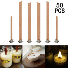 50x Wood Wooden Candles Core Wick Candle Making Supplies With Iron Stands Wh1