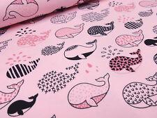 Stoff Baumwolle Jersey Wale Fische rosa pink schwarz Kiniderstoff Kleiderstoff