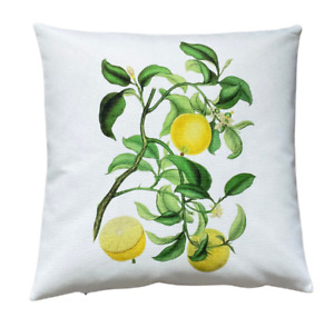 *SALE* lemons - 40cm Ivory cushion cover botanical/kitchen/French country