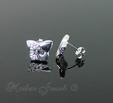 BUTTERFLY SIMULATED DIAMOND STERLING SILVER FILLED WOMENS GIRLS EARRINGS STUDS