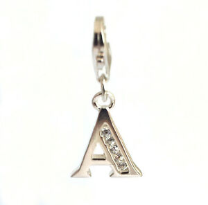 Solid sterling SILVER zirconia alphabet letter charm with silver lobster clasp