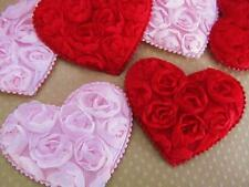 "20 Big 2"" Red & Pink Rose Brooch Flower Fabric Heart Applique/Floral/padded H548"