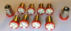 10 Olds *BRIGHT* Red 12V LED Instrument Panel BA9S 1815 Light Bulbs 1895 NOS