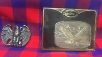 Lot of 2 Eagle Brass Belt Buckles RainTree Mountains Flying Avon Made in USA