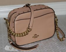 💚 COACH Camera Bag with Crystal Border Rivets Crossbody Bag Purse~Nude Pink