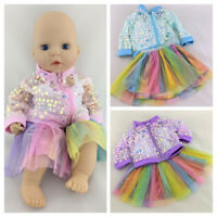 RAINBOW COLOUR SKIRT & SEQUINED TOP CLOTHES FITS MY FIRST BABY ANNABELL DOLL