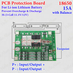 3S 15A w/Balance Li-ion Lithium 18650 Battery BMS Protection PCB Board 11.1V 12V