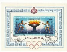 SAN MARINO  francobolli usati 1984 in foglietto OLIMPIADI DI LOS ANGELES 84