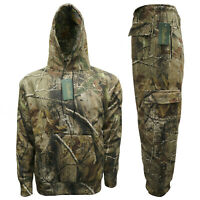 Mens Jungle Camouflage Tracksuit Overhead Hoodie & Jogger Full Set Fishing S-2XL