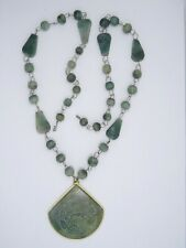 VINTAGE GREEN JADE JADEITE NECKLACE with CARVED PENDANT ~ 24""
