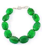 Green Emerald 250.00 Cts Earth Mined Oval Shape Carved Beads Handmade Bracelet