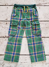 MINI BODEN Boys Green Plaid Tartan Roll Up Surf Pants 7 EUC