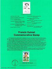 USPS Souvenir Page 88-25 #2377 Francis Ouimet Golf FDOI 1988