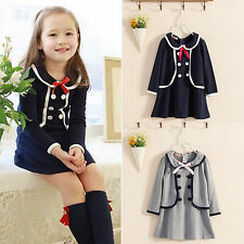 Toddler Kids Girls Double Breasted Winter School Formal Dress Prom Evening Party