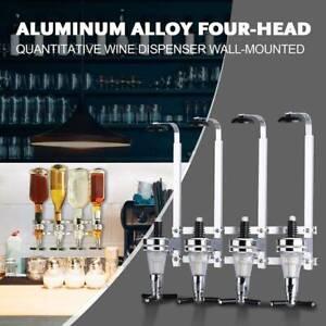 4 Bottle Stand Wall Mounted Optic Dispenser Drinks Wine Steel Bar Drink Butle
