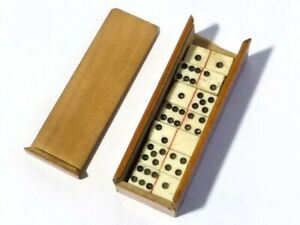 Antique POW Miniature Carved Dominoes in Wooden Box Case Napoleonic 26 pieces
