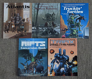 PALLDIUM BOOKS RPG LOT - RIFTS + NORTHERN WILDERNESS + TRUCKIN TURTLES - 5 Books
