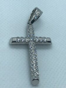 CZ Solid Large Cross Pendant - 925 Sterling Silver Brand NEW - Large