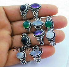Wholesale lot Amethyst and other stone 925 sterling silver Plated Rings 100pcs