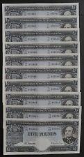 10x Australia 1960 RBA Coombs Wilson CONSECUTIVE 5 Pound Notes Prefix:TC/09 aUNC